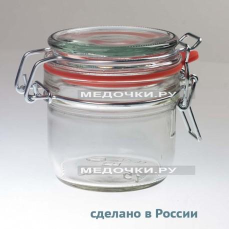 Стеклянная банка с замком 250 мл пр-во Россия