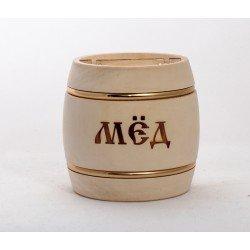 Бочонок для мёда 300 гр с обручами светлый