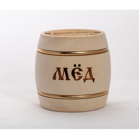 Бочонок для мёда 500 грамм с обручами